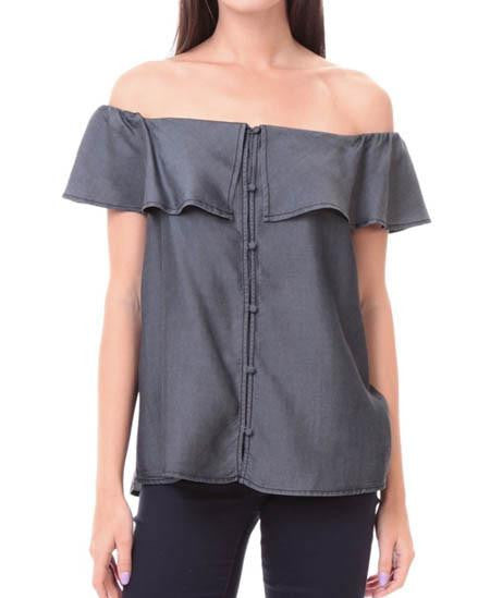 Front Button Off-The-Shoulder Tencel Top