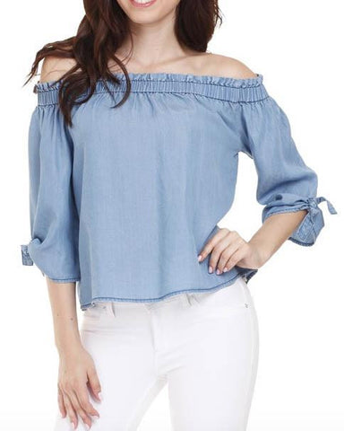 Gathered Off-The-Shoulder Chambray Top