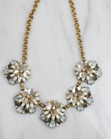 Ivory and Pale Blue Floral Statement Necklace