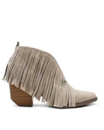 Gray Fringe Cut Out Booties