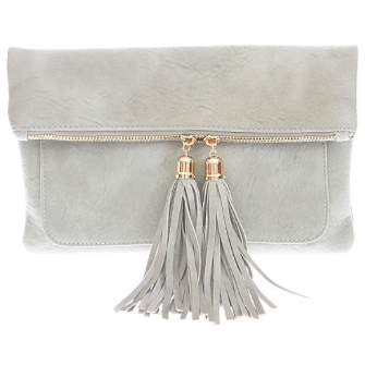TASSEL ME UP Fold Over Clutch (Gray)