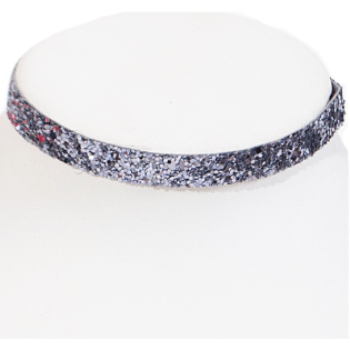 Glitter Choker Necklace (Hematite)
