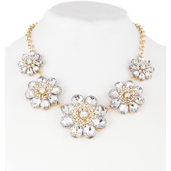 DAISY Crystal Statement Necklace - Clear