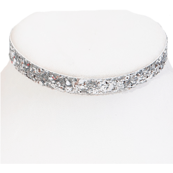 Glitter Choker Necklace (Silver)