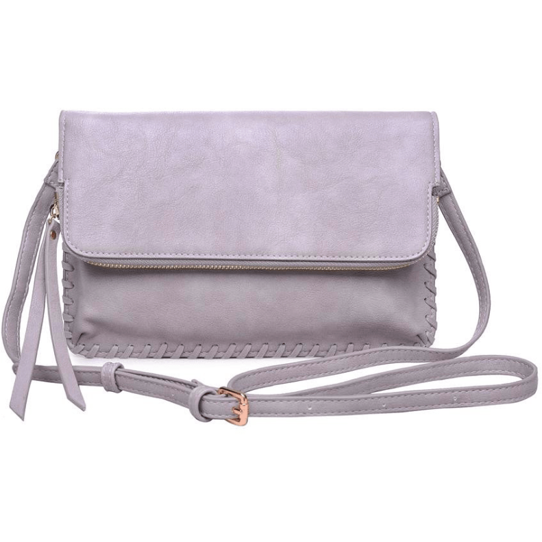 ELIZABETH Threaded Clutch & Crossbody (Gray)