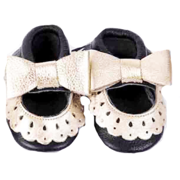 OH OH BABY! Infant Moccasins (Black/Gold)
