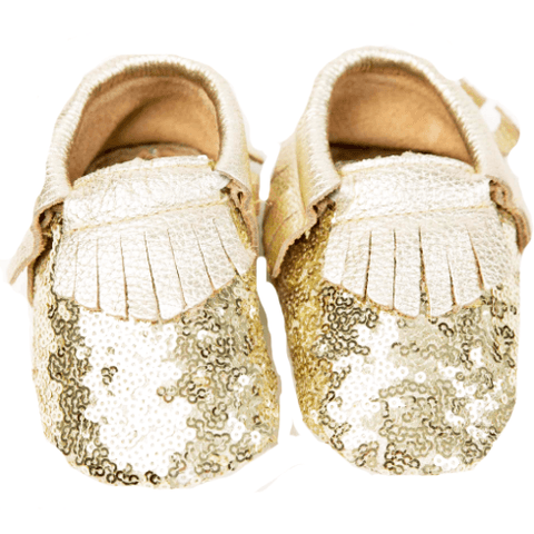 OH OH BABY! Gold Glitter Moccasins