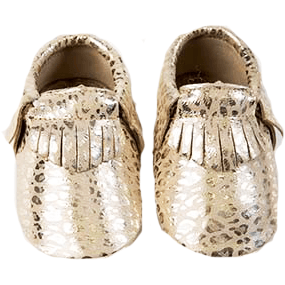 OH OH BABY! Leopard Metallic Moccasins (Gold)