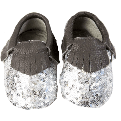 OH OH BABY Glitter Moccasins (Silver/Gray)