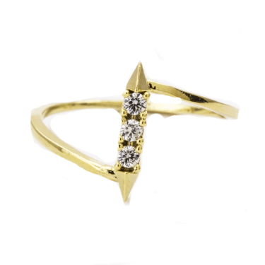 Gold and Crystal Dagger Ring