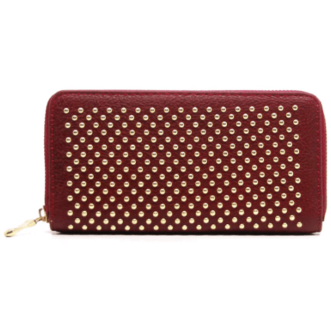 Studded ZIPPY Wallet (Burgundy)