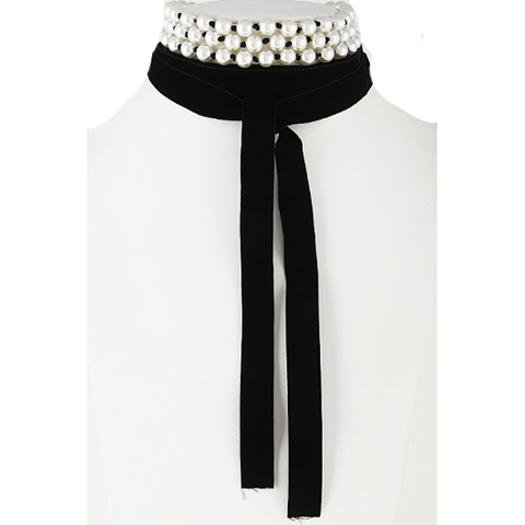 VELVET & PEARLS Choker Wrap Necklace