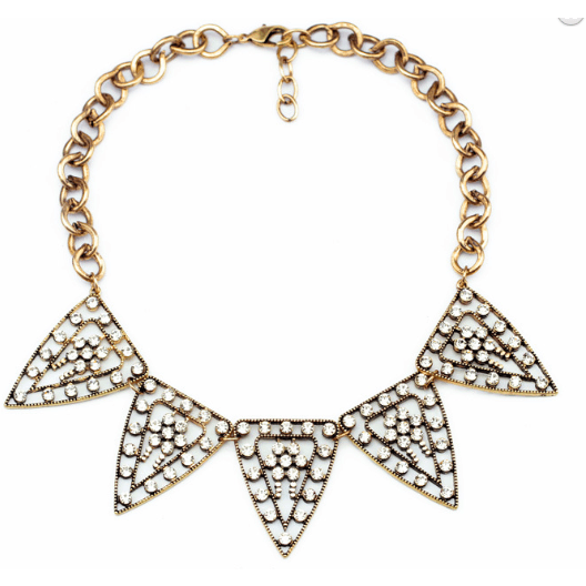 Crystal Triangle Statement Bib Necklace