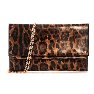BB Leopard Clutch with chain