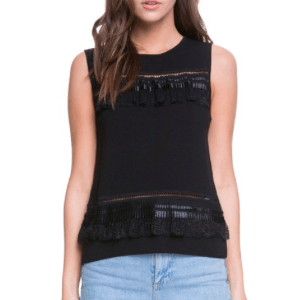 Fringe and Tassel Trim Shell Top