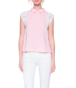AM Lace Contrast Pink Top