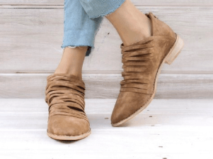 Cut-Out Detail Flat Faux Suede Bootie with Pleated Top