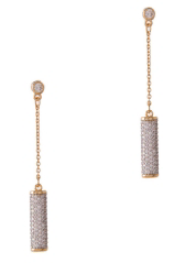 Crystal Pave Drop Bar Earrings