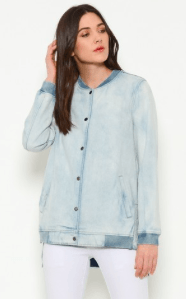 Long Lightweight Denim Bomber Jacket