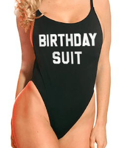One-Piece 'Birthday Suit' High Cut Vintage Swimsuit - More Colors Available!