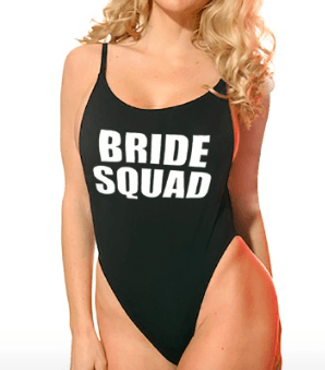 One-Piece 'Bride Squad' High Cut Vintage Swimsuit - Black
