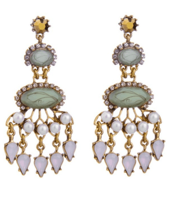 Double Drop Multi Colored Stone And Pearl Earrings