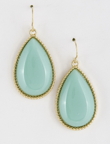 Color Tear Drop Earrings - Mint