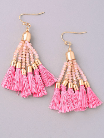 Bright Color Bead And Tassel Earrings