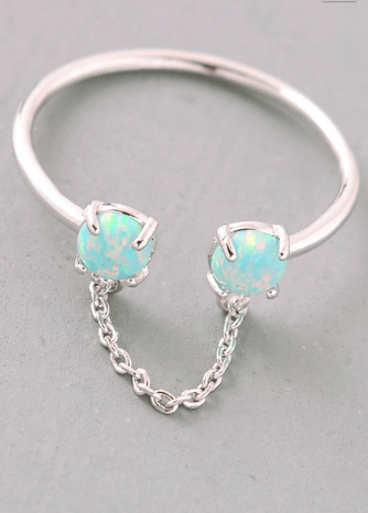 Opal Stone Chain Detail Ring