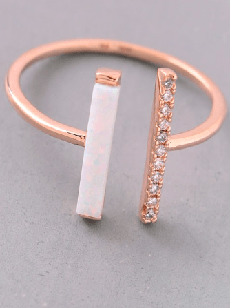 Double Bar Rhinestone And Opal Stone Ring