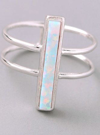 Opal Bar Double Band Ring