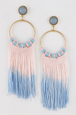 Fringe Blue And Pink Girly Earrings