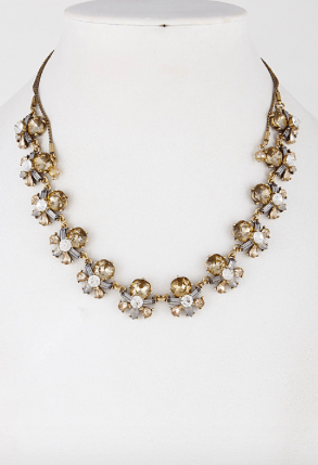 Clear Champagne Crystal Floral Necklace