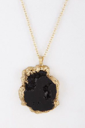 Black Crystal Stone Pendant Necklace