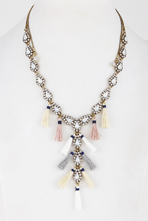 Tassel Detail Beaded Y Necklace