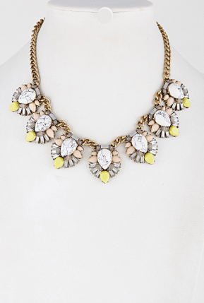 Summer White Marble Statement Necklace