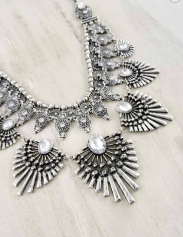 Silver Spiky Art Deco Necklace