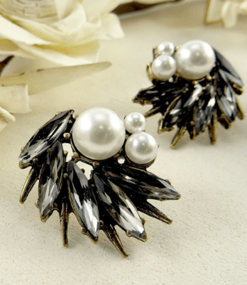 Gatsby Crystal & Pearl Statement Earrings