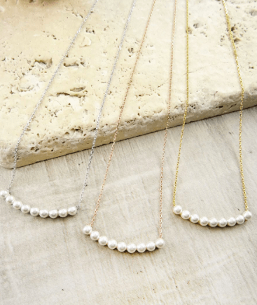 Sterling Silver Delicate Pearl Bar Necklace