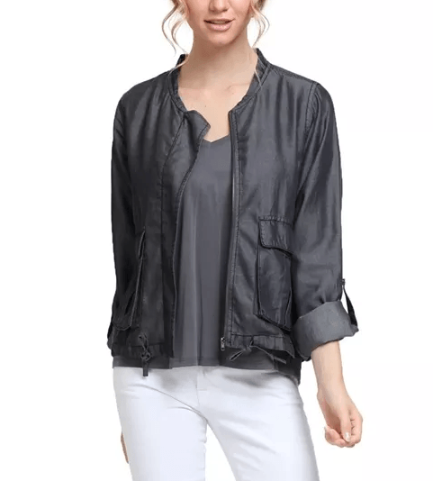 Charcoal Tencel Lightweight Denim Oversized Jacket