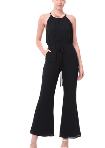 Casual Flare Bottom Jumpsuit - Black