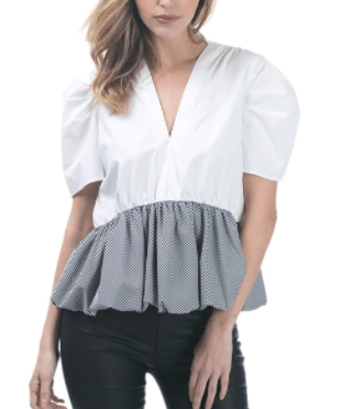 Bubble Sleeve Top with Contrast Peplum