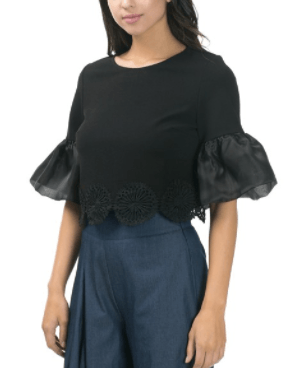 Black Crop Top Ruffle Sleeve Embroidered Hem