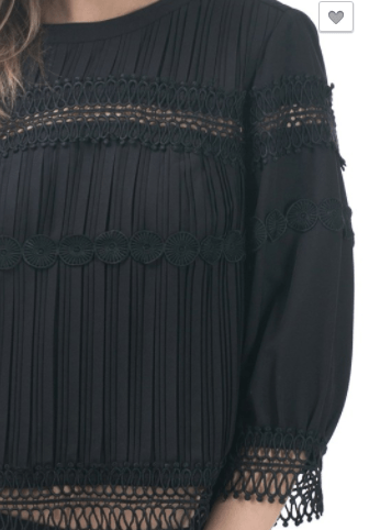Crochet Trim Detail Blouse Pleated - Black
