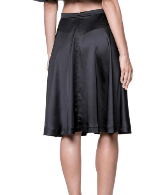 Amy Flared Satin Midi Skirt - Black