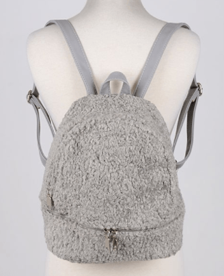 Furry Sheepskin Backpack - Gray