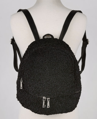 Furry Sheepskin Style Backpack - Black