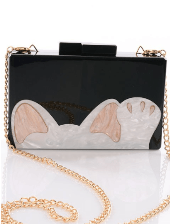 Cat Paw Acrylic Box Clutch with Strap