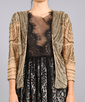 Beaded Gold Ritz Caplet Shawl - Roehampton Road
