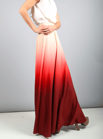 Wine Ombre Extra Long Flowing Maxi Skirt